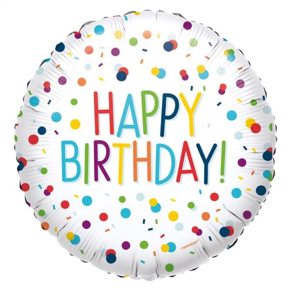 Happy Birthday Ballon weiß mit Konfetti Muster