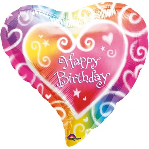 Bunter Happy Birthday Herzballon