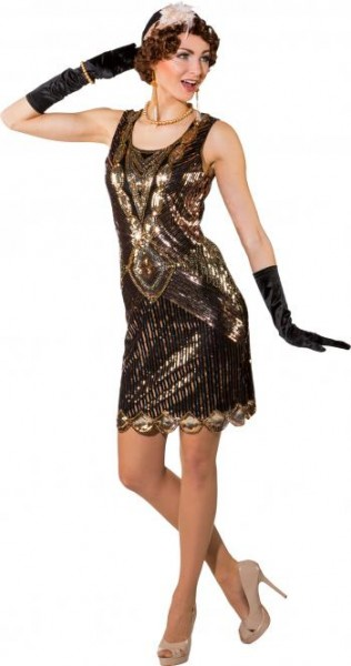 Charleston Kleid 20er Jahre S/M schwarz-gold
