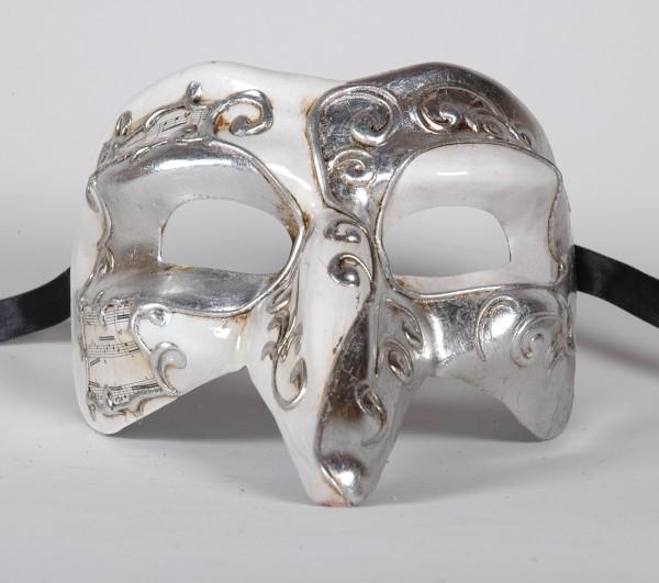 Venezianische Maske Capitano Musica weiss/silber