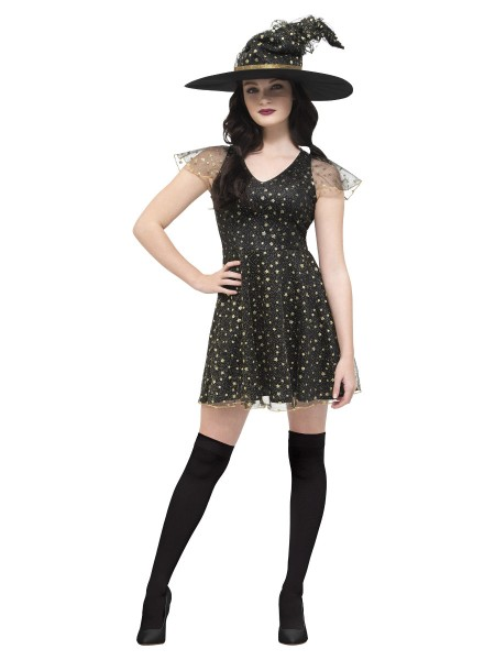 Hexe Moon & Star Kleid mit Hut XS