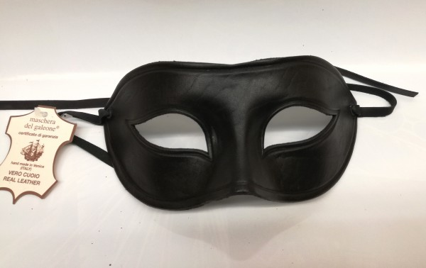 Venezianische Leder Maske schwarz