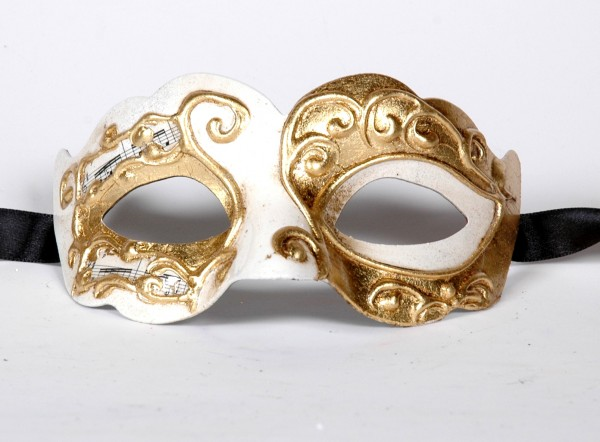 Venezianische Maske Columbine Baby Musica weiss-gold