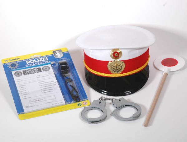 Polizei Set 6teilig mit Kappe weiss/rot
