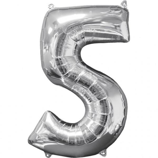 """Zahlen Luftballon """"5"""" silber ca.66x45cm"""