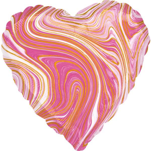 Herzballon in marmor-pink color