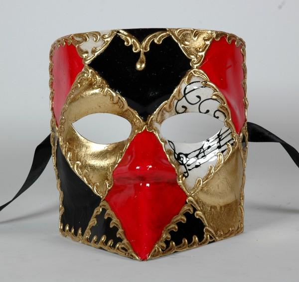 Venezianische Maske für Herren Bauta Karo Muster