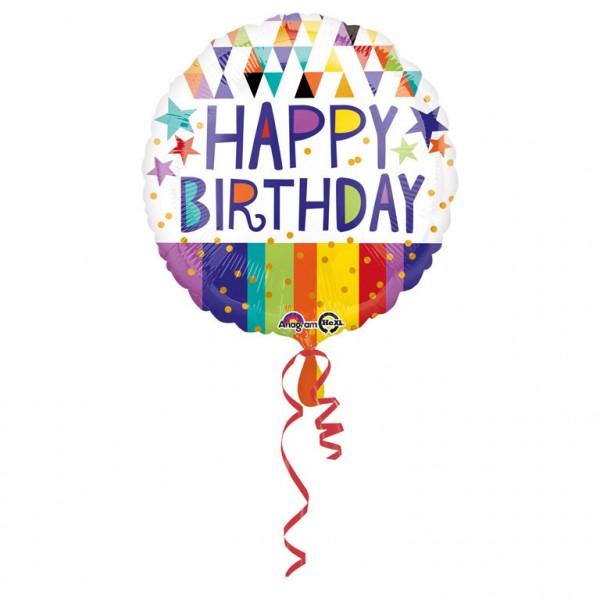 Bunter Folien Luftballon Happy Birthday