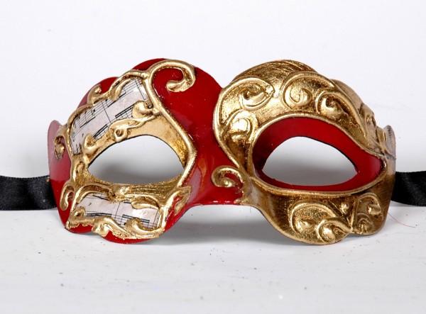 Venezianische Maske Columbine Baby Musica rot-gold