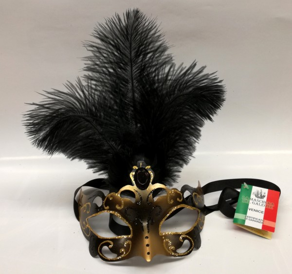 Venezianische Maske mit Federn gold-schwarz