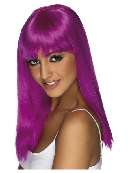 Neon-purple Langhaar Perücke mit Stirnfransen