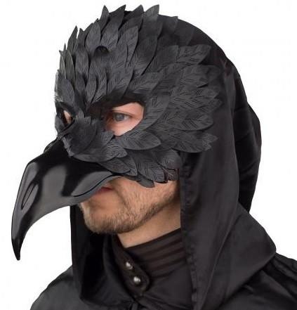 Raben Maske Rabe schwarz mit langem Schnabel