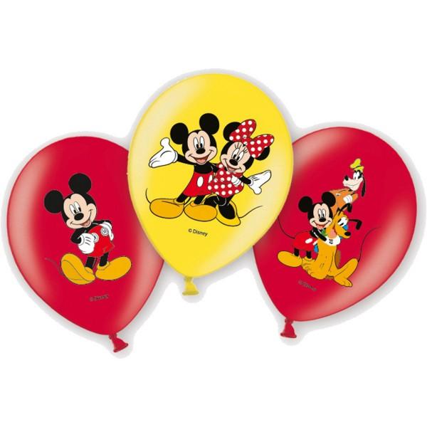 6 Stück Luftballons Micky Mouse Motiv