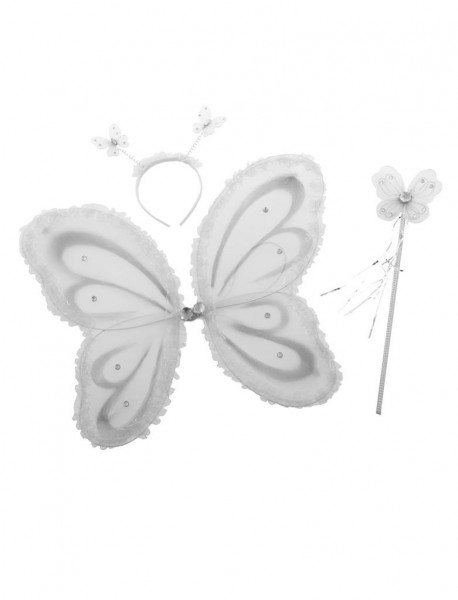 Schmetterling Set weiss 3teilig