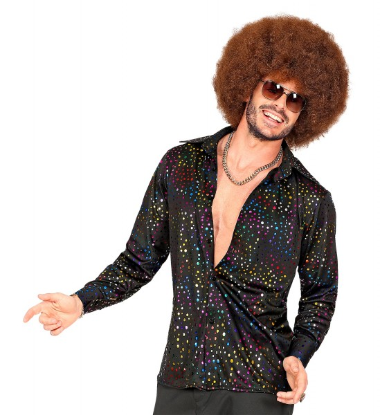 Disco Shirt L/XL schwarz-glitter