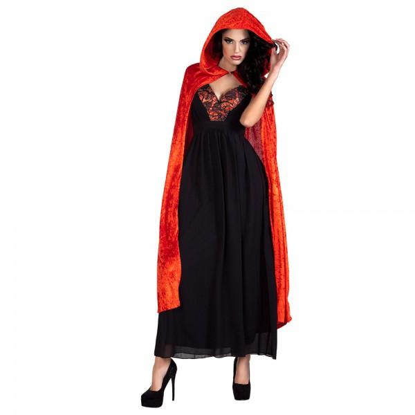Roter Umhang mit Kapuze ca.170cm lang