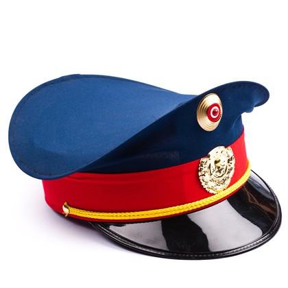 Polizeimütze blau/rot für Erwachsene