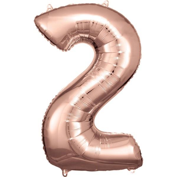 "Zahlen Luftballon ""2"" rose-gold ca. 88x58cm"