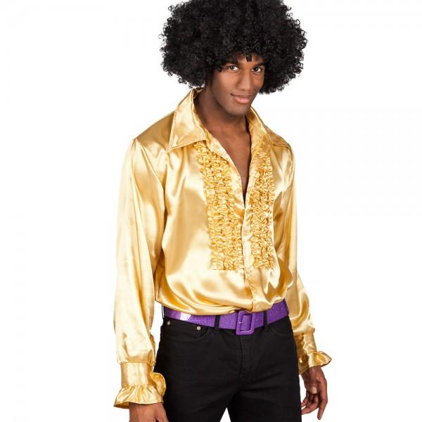 Party Hemd mit Rüschen gold MEDIUM