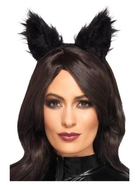Schwarze Plüsch Katzen Ohren