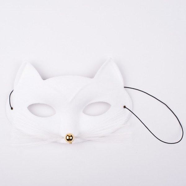 Katzenmaske weiss mit Schnurrbart