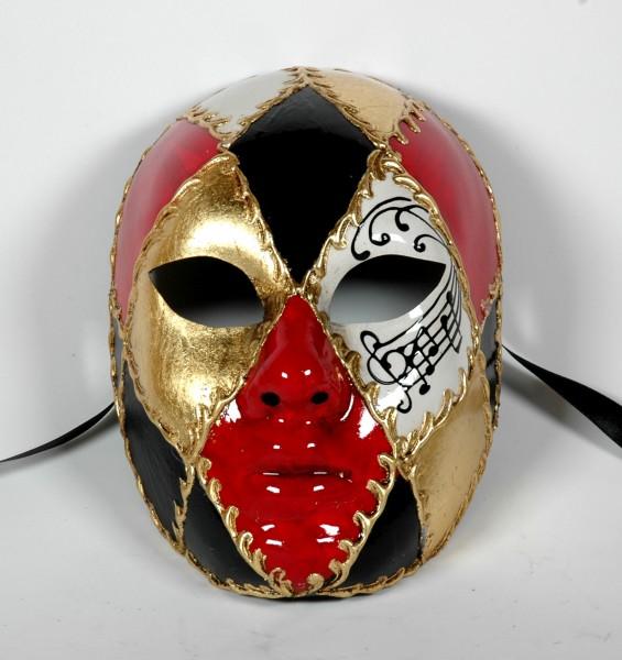 Venezianische Maske Volto Form mit Karo Muster