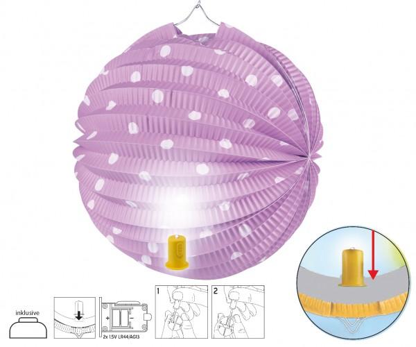 Lampion SET mit LED Licht lila mit Punkten D:20cm