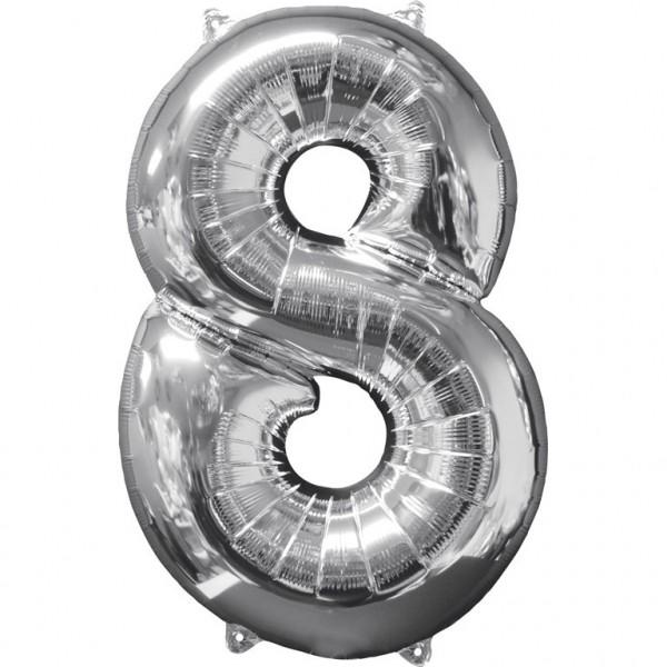 """Zahlen Luftballon """"8"""" silber ca. 66x43cm"""