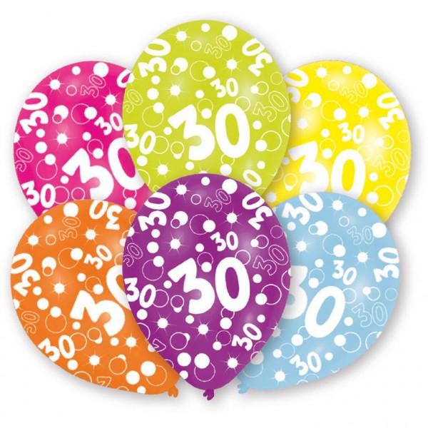6 Stück Luftballons Happy Birthday 30. Geburtstag
