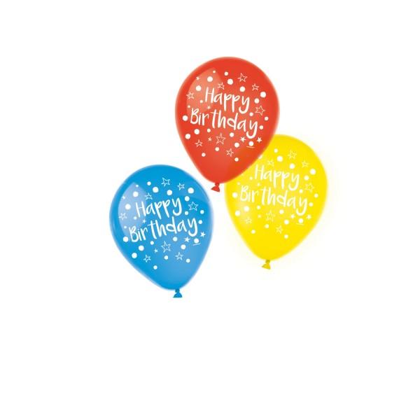 6 Luftballons Happy Birthday 3 Farben sortiert