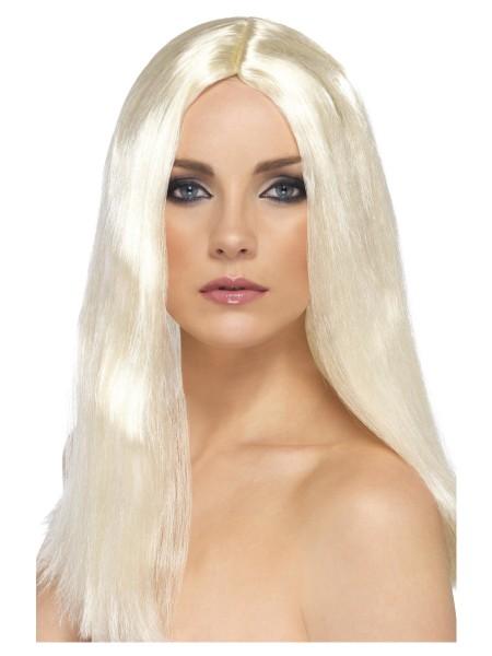Langhaar Perücke blond mit Mittelscheitel
