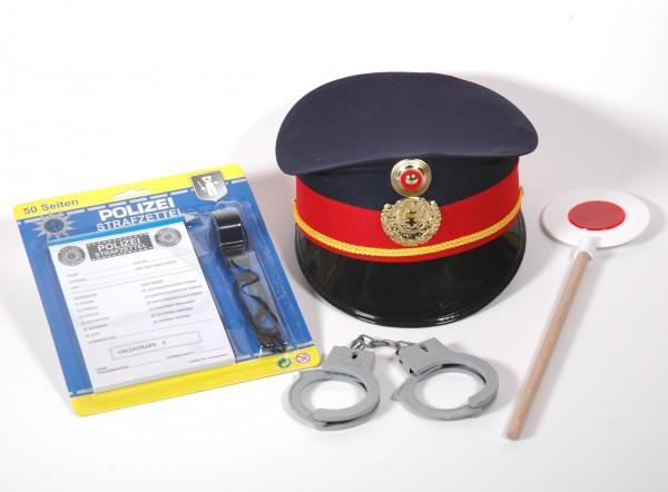Polizei Set 6teilig mit Kappe blau/rot