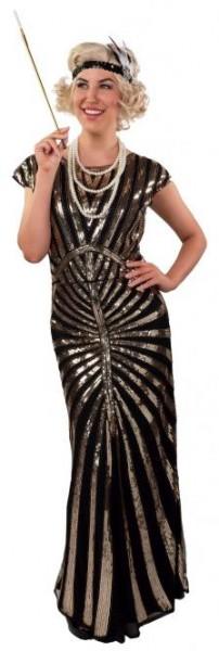 20er Jahre Paillietten Kleid lang schwarz-gold