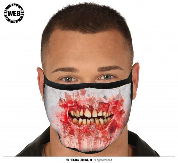 Mund Nasen Schutz Maske blutiges Gesicht