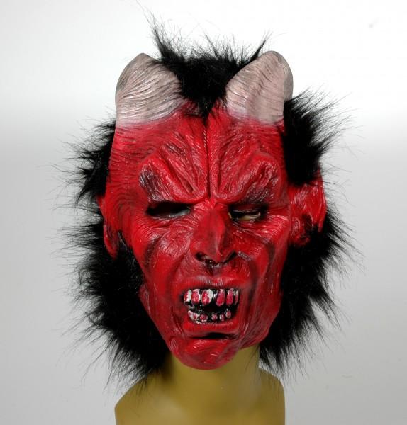 Krampus Maske mit Plüsch Haar