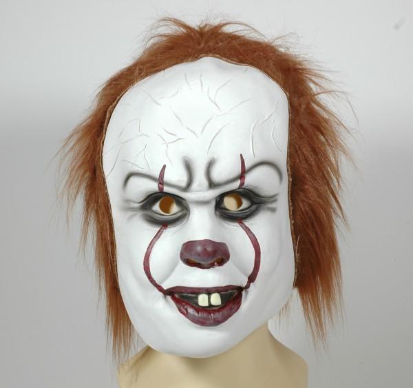 Horro Clown Maske mit Plüsch Haare