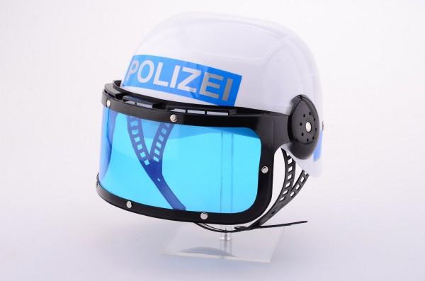 Polizei Helm mit Visier weiss-blau