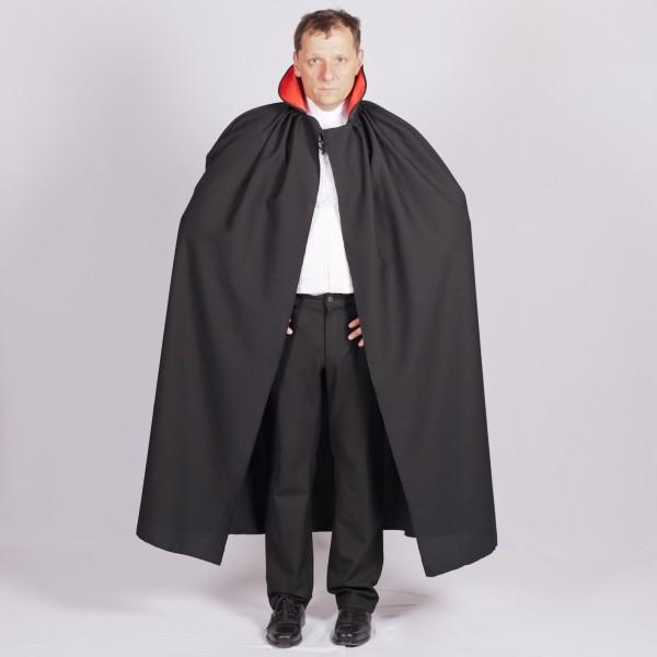 Vampir Umhang LARGE für Erwachsene mit rotem Kragen