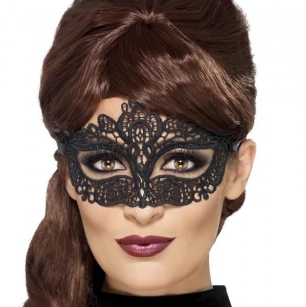 Venezianische Maske schwarz aus Spitze
