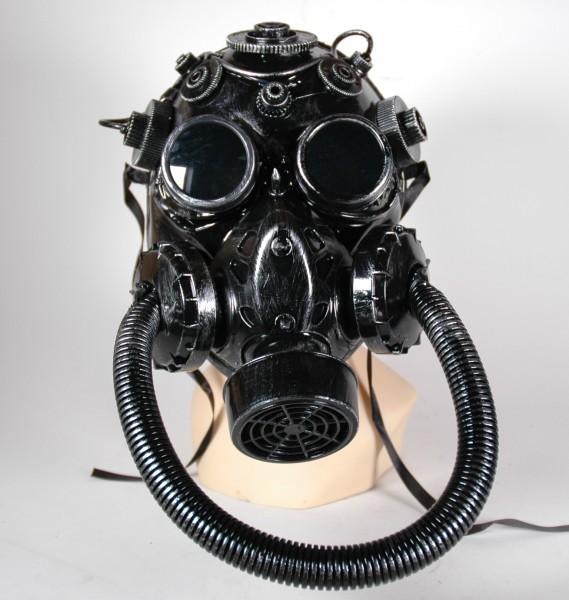 Große Steampunk Maske silber-schwarz