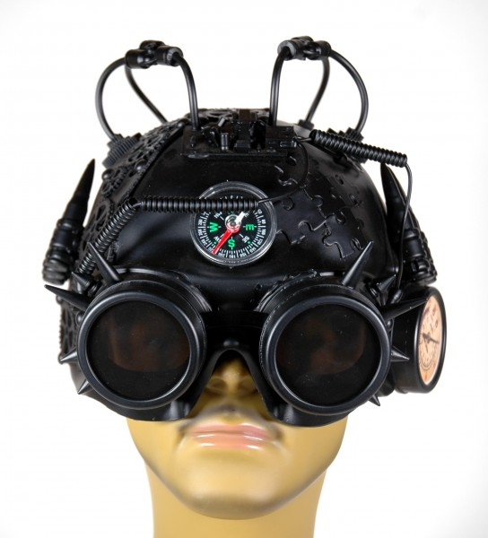 Große Steampunk Halbmaske schwarz