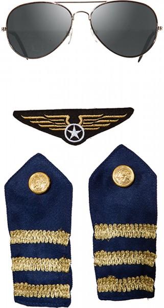 Piloten Set 4tlg. Brille, 2xSchulterklappen und Abzeichen