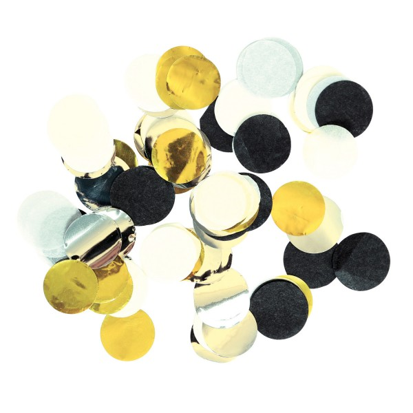 Große Konfetti gold, silber, schwarz und weiß