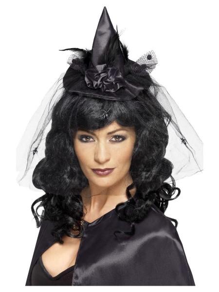 Mini Hexen Hut schwarz mit Schleier