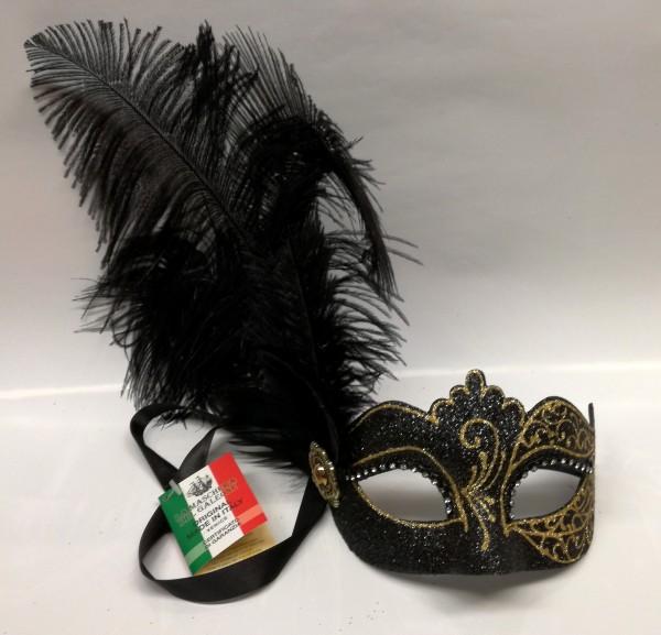 Venezianische Maske glitter mit Federn