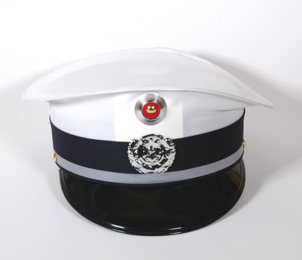 Polizeimütze weiss/blau für Erwachsene