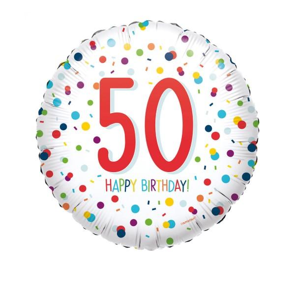 Happy Birthday Ballon 50er weiß mit Konfetti Muster