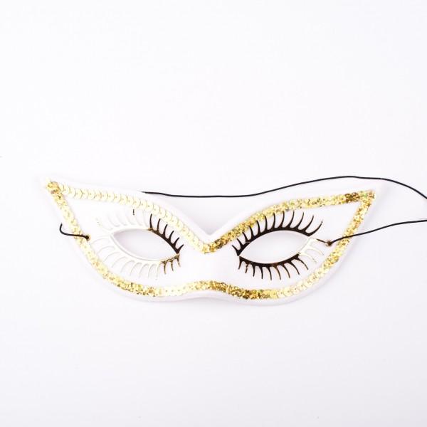 Spitze Augenmaske weiss mit goldener Dekoration