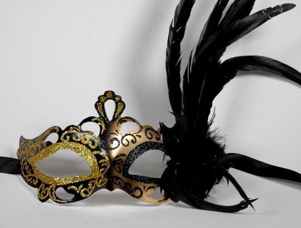 Venezianische Maske gold-schwarz-gold mit Federn