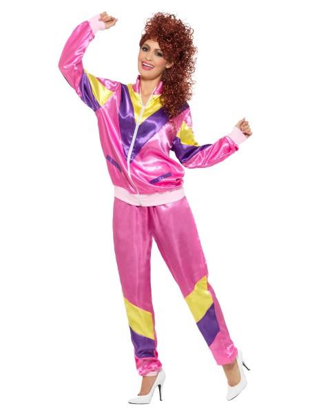 80er Jahe Trainings Anzug für Damen LARGE pink